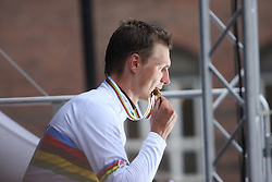 Tony Martin of Germany poses with his gold medal after winning the Elite Men's Time Trial on day three of the UCI Road World Championships on September 21, 2011 in Copenhagen, Denmark. (Photo by Marjan Kelner / Sportida Photo Agency)
