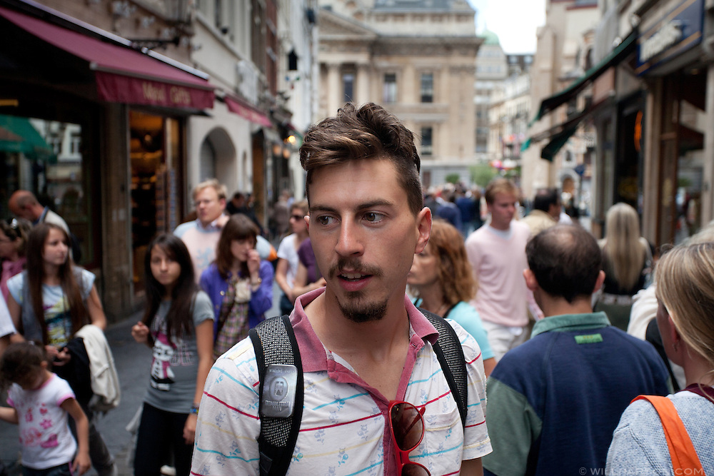 Ryan pauses on a busy street in Brussels, Belgium.