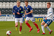 Connor Smith (C)(Heart of Midlothian), Sonny Blu Lo-Everton (Watford) & Igor Vorobyev during the U17 European Championships match between Scotland and Russia at Simple Digital Arena, Paisley, Scotland on 23 March 2019.