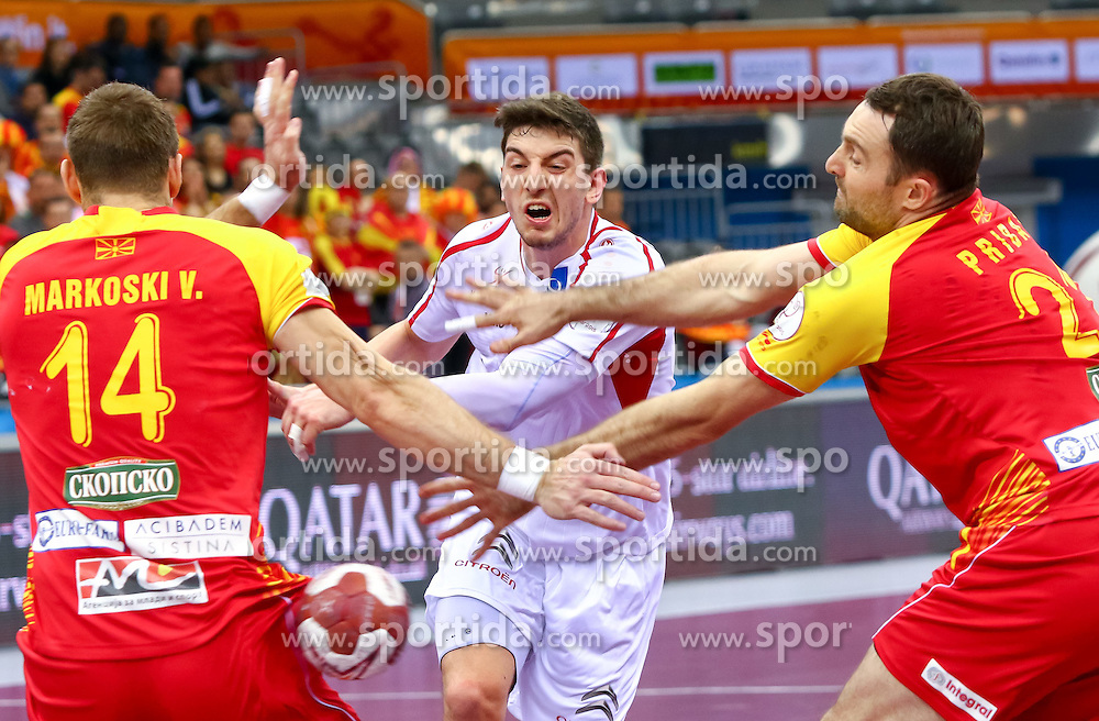 23.01.2015, Ali Bin Hamad Al Attiyah Arena, Doha, QAT, IHF, Handball Weltmeisterschaft der Herren, Gruppe B, Österreich vs Mazedonien, im Bild Maximilian Hermann (AUT) // during the IHF Handball World Championship group B match between Austria and Macedonia at the Ali Bin Hamad Al Attiyah Arena, Doha, Qatar on 2015/01/23. EXPA Pictures © 2015, PhotoCredit: EXPA/ Sebastian Pucher
