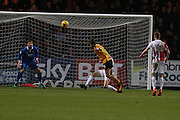 Luke Berry scores Cambridge's second goal during the EFL Sky Bet League 2 match between Cambridge United and Cheltenham Town at the R Costings Abbey Stadium, Cambridge, England on 26 November 2016. Photo by Antony Thompson.