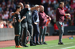 Manchester City manager Josep Guardiola talks with Brahim Diaz of Manchester City on the touchline prior to coming on. - Mandatory by-line: Alex James/JMP - 13/05/2018 - FOOTBALL - St Mary's Stadium - Southampton, England - Southampton v Manchester City - Premier League