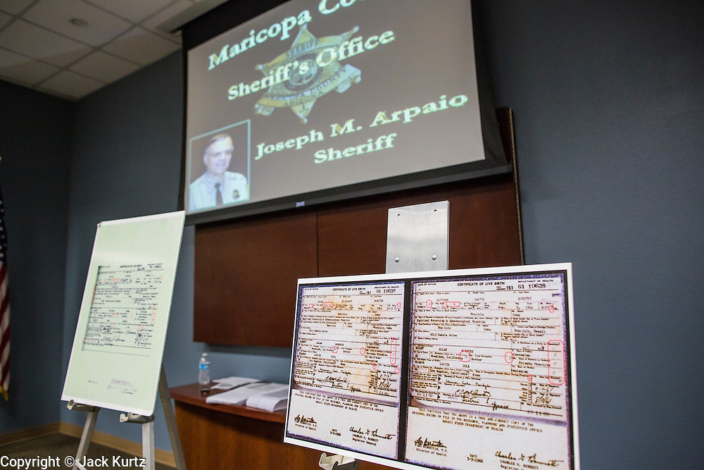 17 JULY 2012 - PHOENIX, AZ: Enlargements of birth certificates used by Maricopa County Sheriff Joe Arapaio and his volunteer investigator Mike Zullo used to prove President Obama's birth certificate is not authentic. Zullo and Arpaio said their investigation proves that the long form birth certificate President Barrack Obama has used to prove his citizenship is a fraud. They further said that Hawaii's lax standards for getting a birth certificate may pose a serious flaw to the United States' national security.   PHOTO BY JACK KURTZ
