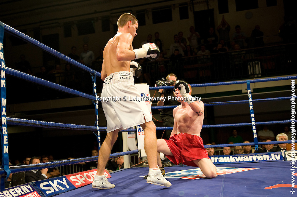 Liam Walsh defeats Jon Baguley at York Hall, Bethnal Green 9th ocotber 2009. Frank Warren Promotions.Credit: ©Leigh Dawney Photography