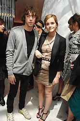 Actress EMMA WATSON and JOHNNY BORRELL at a party hosted by PPQ of Mayfair at the Fiat Flagship Store, 105 Wigmore Street, London W1 on 11th February 2008.<br />