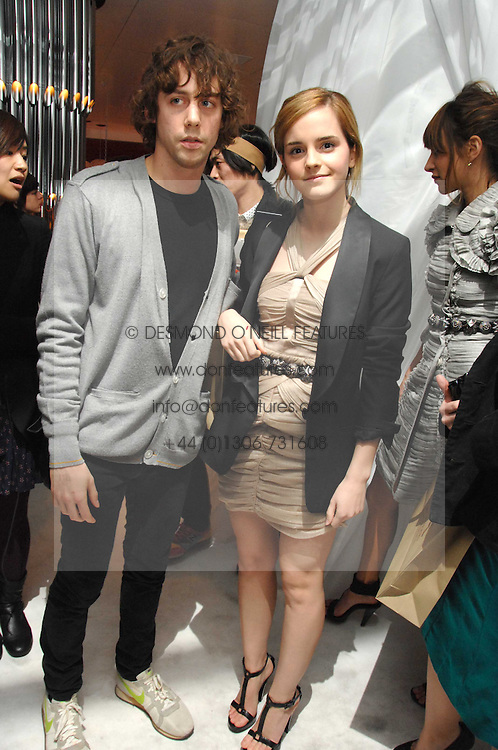 Actress EMMA WATSON and JOHNNY BORRELL at a party hosted by PPQ of Mayfair at the Fiat Flagship Store, 105 Wigmore Street, London W1 on 11th February 2008.<br /><br />NON EXCLUSIVE - WORLD RIGHTS