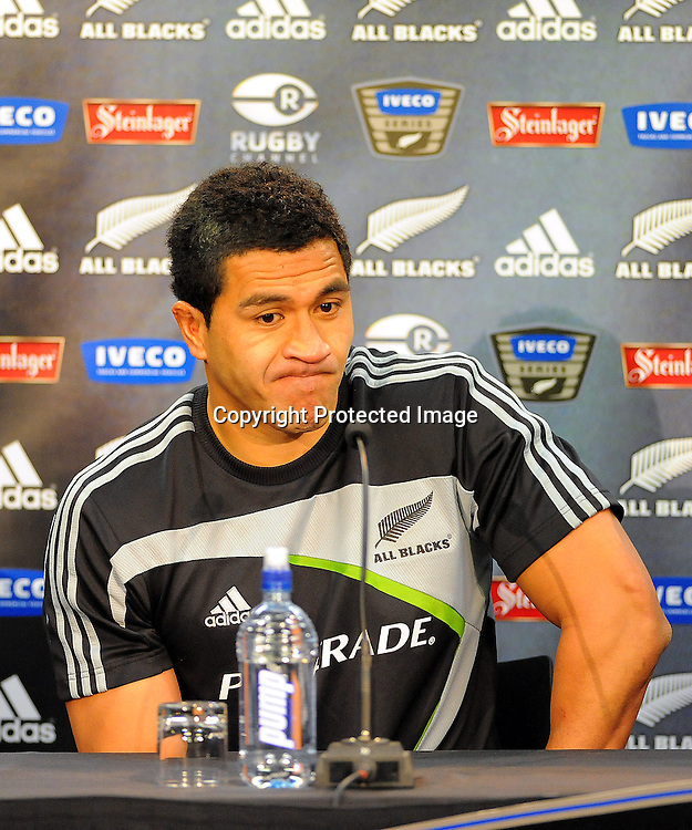 All Black Mils Muliaina talks to the media after the Test Match between the All Blacks v Italy. Iveco Test Series, Jade Stadium, Wellington, New Zealand. Saturday 27 June 2009. Photo:PHOTOSPORT