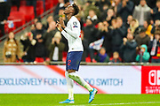 Goal England forward Tammy Abraham scores a goal and celebrates 7-0 during the UEFA European 2020 Qualifier match between England and Montenegro at Wembley Stadium, London, England on 14 November 2019.