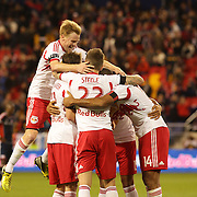 Jonny Steele, (22), New York Red Bulls, celebrates with team mates after scoring during the New York Red Bulls V New England Revolution, Major League Soccer regular season match at Red Bull Arena, Harrison, New Jersey. USA. 20th April 2013. Photo Tim Clayton