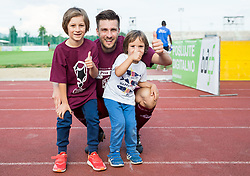 Rok Elsner of Triglav celebrates with his children after winning during 2nd Leg football match between NK Triglav Kranj and NS Drava Ptuj in Qualifications of Prva Liga Telekom Slovenije 2018/19, on June 6, 2018 in Kranj, Slovenia. Photo by Vid Ponikvar / Sportida