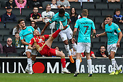 Milton Keynes Dons Robbie Simpson(19) attempts an overhead kick towards goal during the EFL Sky Bet League 2 match between Milton Keynes Dons and Forest Green Rovers at stadium:mk, Milton Keynes, England on 15 September 2018.