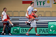 Sopot, Poland - 2018 April 06: (R-L) Lukasz Kubot and Daniel Michalski and Marcin Matkowski all from Poland smile after their training session one day before Poland v Zimbabwe Tie Group 2, Europe/Africa Second Round of Davis Cup by BNP Paribas at 100 years of Sopot Hall on April 06, 2018 in Sopot, Poland.<br /> <br /> Mandatory credit:<br /> Photo by © Adam Nurkiewicz / Mediasport<br /> <br /> Adam Nurkiewicz declares that he has no rights to the image of people at the photographs of his authorship.<br /> <br /> Picture also available in RAW (NEF) or TIFF format on special request.<br /> <br /> Any editorial, commercial or promotional use requires written permission from the author of image.