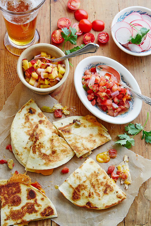 Chicken Quesadillas With Garlic Chicken