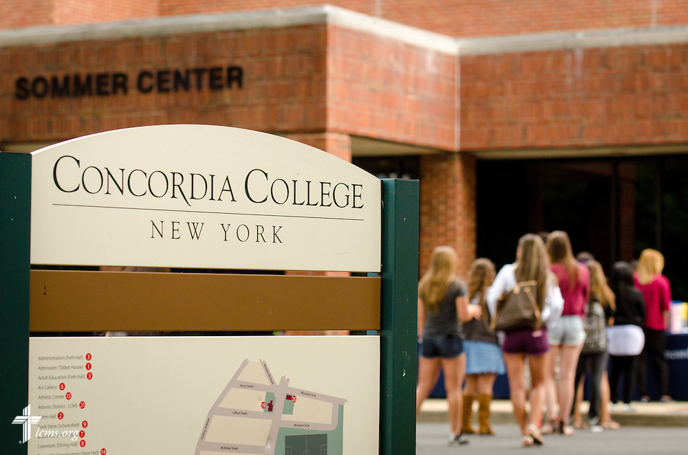 Students walk to the Sommer Center for Worship and Performing Arts at Concordia College New York on Saturday, July 19, 2014, in Bronxville, NY. LCMS Communications/Erik M. Lunsford