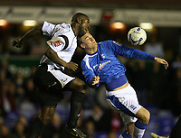 Photo: Rich Eaton.<br /> <br /> Birmingham City v Derby County. Coca Cola Championship. 09/03/2007.  Darren Moore left of Derby and Nicklas Bendtner of Birmingham fight go for the ball
