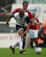 Photo: Paul Thomas.<br /> Preston North End v Manchester United. Pre Season Friendly. 29/07/2006.<br /> <br /> Jason Jarrett of Preston fights off (R) Liam Miller.