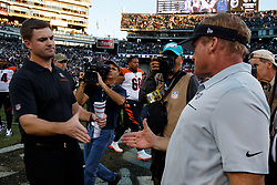 OAKLAND, CA - NOVEMBER 17: Head coach Jon Gruden of the Oakland Raiders shakes hands with head coach Zac Taylor of the Cincinnati Bengals after the game at RingCentral Coliseum on November 17, 2019 in Oakland, California. The Oakland Raiders defeated the Cincinnati Bengals 17-10. (Photo by Jason O. Watson/Getty Images) *** Local Caption *** Jon Gruden; Zac Taylor