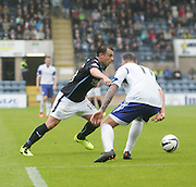 Paul McGowan goes past Ryan Strachan - Dundee v Peterhead, League Cup at Dens Park<br /> <br />  - &copy; David Young - www.davidyoungphoto.co.uk - email: davidyoungphoto@gmail.com