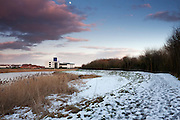 View of the River Parrett towards the Industrial Estate on Bridgwater's Bristol Road a few days after some heavy snowfall.