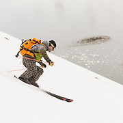 Kai Kantanen skiing in Veiðileysufjörður, Iceland.<br /> <br /> Images from an ski touring adventure to Jökulfirðir, a series of fjords in west Iceland, with Bergmenn Mountain Guides and Borea Adventures. The tour takes skiers from fjord to fjord with the sail boat Aurora as a overnight base.