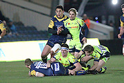 Jono Lance is tackled during the Aviva Premiership match between Worcester Warriors and Sale Sharks at Sixways Stadium, Worcester, United Kingdom on 1 December 2017. Photo by Daniel Youngs.
