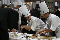 DAVID WONG, CANADA, PREPARATION OF MEAT PLATES for the judges,  at the Bocuse d'Or contest