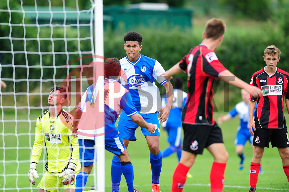 Bristol Rovers' U18s celebrate their goal - Photo mandatory by-line: Dougie Allward/JMP - Tel: Mobile: 07966 386802 17/08/2013 - SPORT - FOOTBALL - Bristol Rovers Training Ground - Friends Life Sports Ground - Bristol - Academy - Under 18s - Youth - Bristol Rovers U18s V Bournemouth U18s
