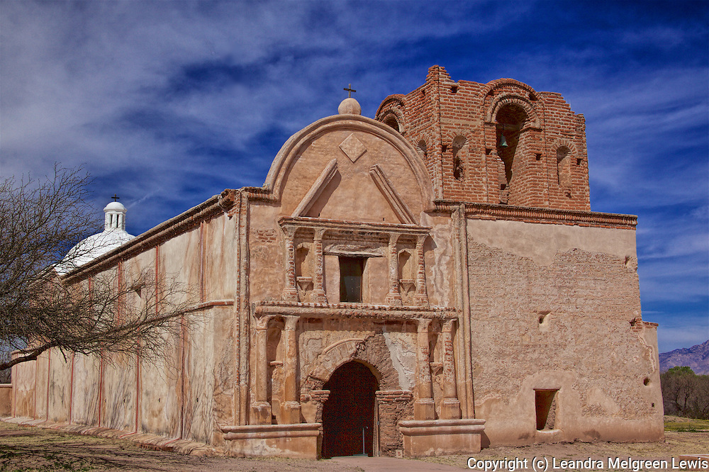 Historic Father Kino's Tumacacori Mission on sunny winter day in Southern Arizona