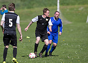 12/05/2018 - St James Athletic (blue) v The Beat (black and white) in the Dundee Saturday Morning Football League at Drumgeith, Dundee, Picture by David Young -