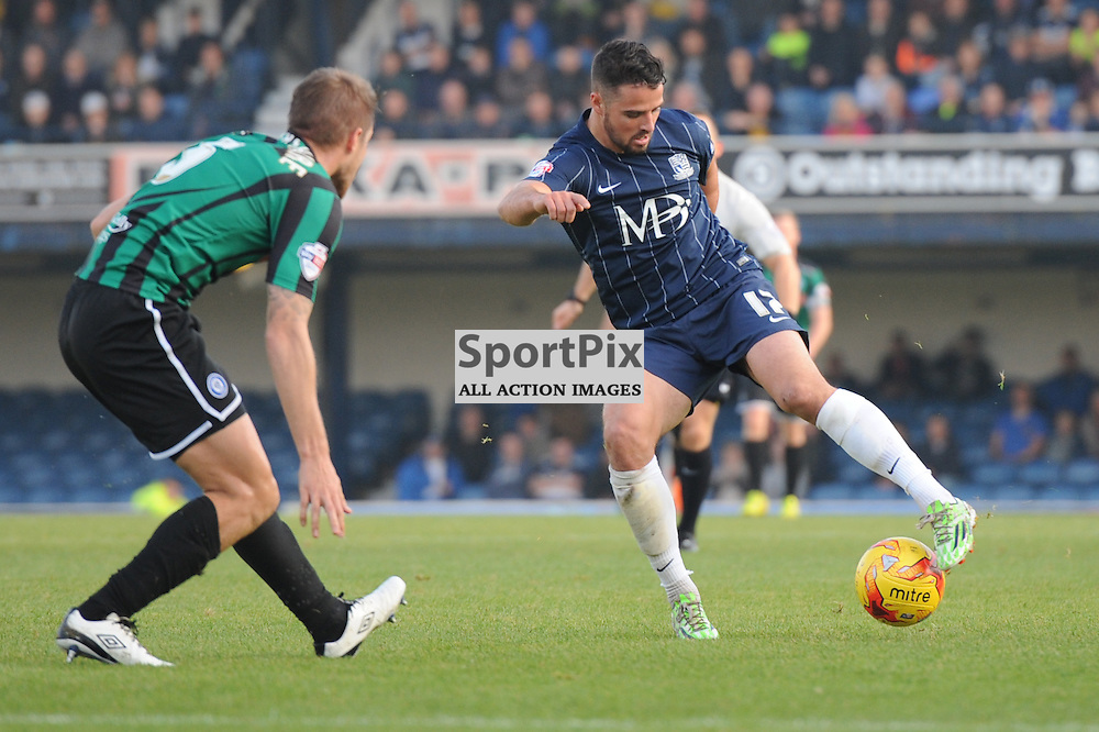 Southends Stepham McLaughlin and Rochdales Olly Lancashire in action during the Southend v Rochdale game in Sky Bet League 1 on the 31st October 2015