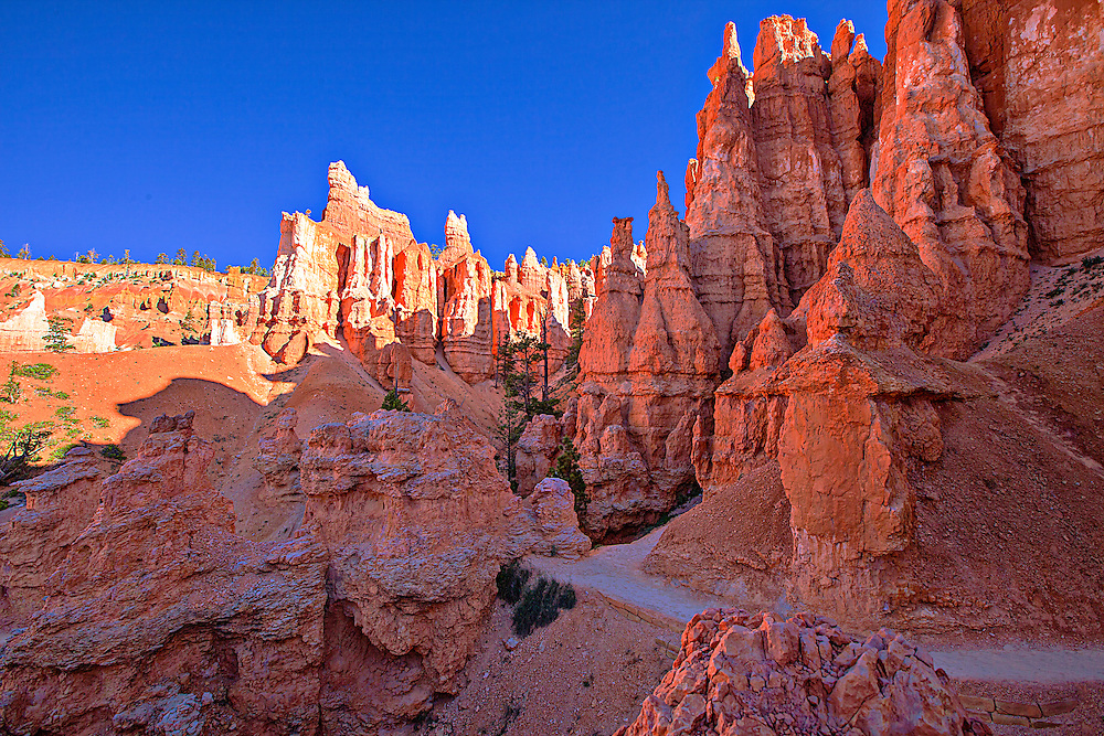 A trail winds through the sandstone pinnacles in Bryce Canyon National Park, Utah
