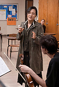 1. Lisa Lee, the violinist of the Lark Quartet, conducts a master class, Wednesday, October 10th, 2007 with .a trio made up of Ohio Univeristy music students.