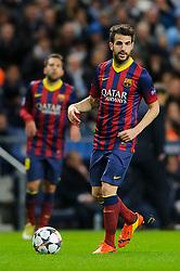Barcelona Midfielder Cesc Fabregas (ESP) in action - Photo mandatory by-line: Rogan Thomson/JMP - Tel: 07966 386802 - 18/02/2014 - SPORT - FOOTBALL - Etihad Stadium, Manchester - Manchester City v Barcelona - UEFA Champions League, Round of 16, First leg.