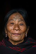 Chang Naga woman facial tattoos<br /> Chang Naga headhunting Tribe<br /> Tuensang district<br /> Nagaland,  ne India