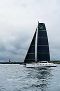 Tribe sailing at the start of the Newport Bermuda Race. Gunboat catamaran.