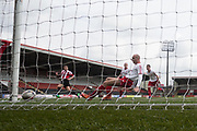 Argyle's Kevin Egan hits the post when his team were 2-1 ahead - Dundee Argyle v Dykehead AFC in the Scottish Sunday Trophy semi final at Excelsior Stadium, Airdrie, Photo: David Young<br /> <br />  - © David Young - www.davidyoungphoto.co.uk - email: davidyoungphoto@gmail.com