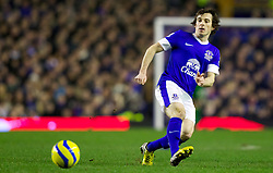 LIVERPOOL, ENGLAND - Tuesday, February 26, 2013: Everton's Leighton Baines in action against Oldham Athletic during the FA Cup 5th Round Replay match at Goodison Park. (Pic by Vegard Grott/Propaganda)