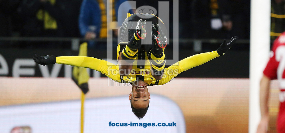 Pierre-Emerick Aubameyang of Borussia Dortmund celebrates scoring their first goal during the Bundesliga match at Signal Iduna Park, Dortmund<br /> Picture by EXPA Pictures/Focus Images Ltd 07814482222<br /> 17/03/2017<br /> *** UK &amp; IRELAND ONLY ***<br /> EXPA-EIB-170317-0019.jpg