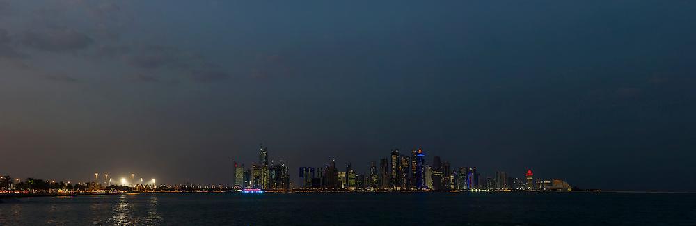 night shot of Doha Qatar