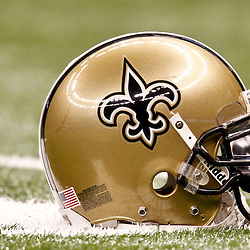 November 28, 2011; New Orleans, LA, USA; A detailed view of a New Orleans Saints helmet on the field prior to kickoff of a game against the New York Giants at the Mercedes-Benz Superdome. Mandatory Credit: Derick E. Hingle-US PRESSWIRE