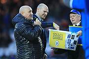 Rochdale and Bradford legend Gary Jones makes the half time gamble draw during the EFL Sky Bet League 1 match between Rochdale and Bradford City at Spotland, Rochdale, England on 29 December 2018.