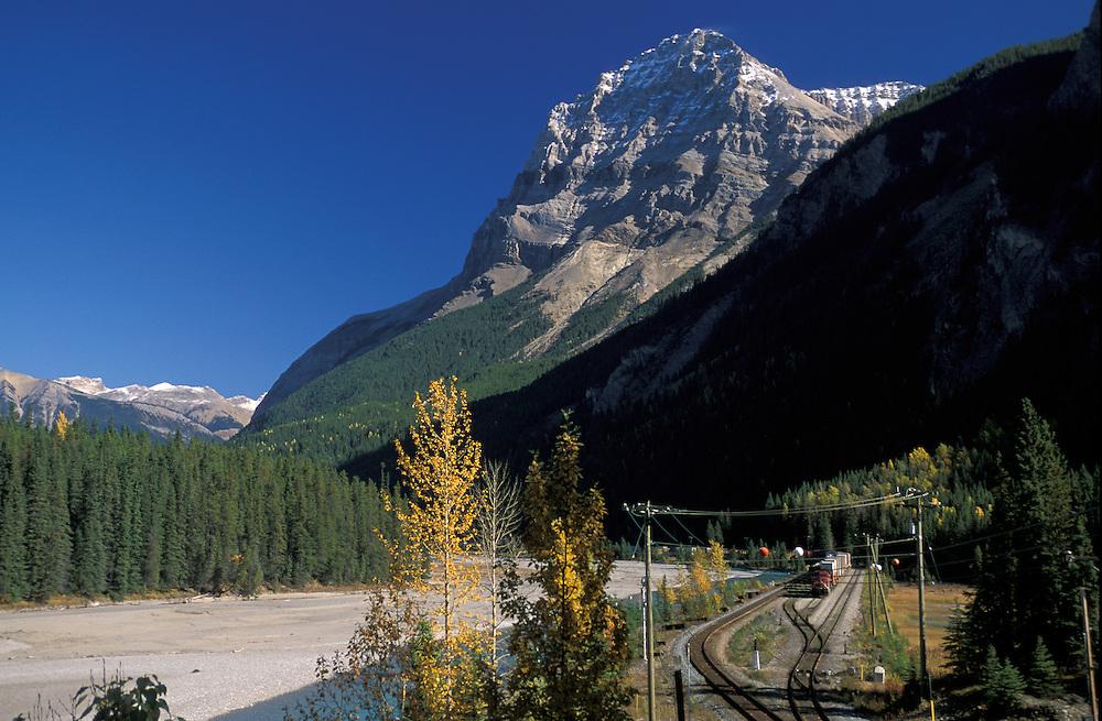 Train near  Field Townsite, Yoho National Park, British Columbia, Canada