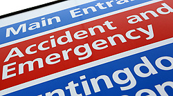 File photo dated 21/05/13 of a general sign for an Accident and Emergency department at a National Health Service (NHS) hospital as the NHS prepares to celebrate its 70th anniversay on Thursday 5th July 2018.