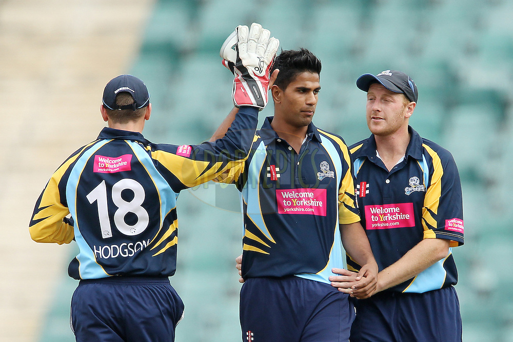 Moin Ashraf celebrates the wicket of Charith Jayampathi during 1st Qualifying match of the Karbonn Smart CLT20 South Africa between Uva Next and Yorkshire held at The Wanderers Stadium in Johannesburg, South Africa on the 9th October 2012..Photo by Ron Gaunt/SPORTZPICS/CLT20