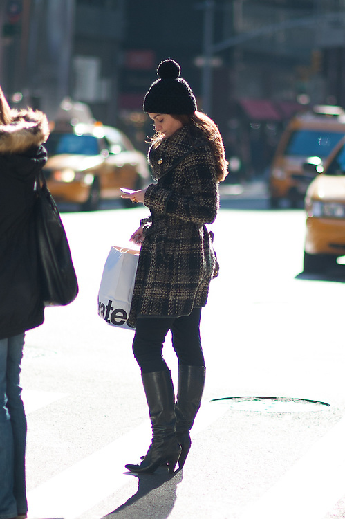 Beanie Hat and Plaid Coat, Madison Avenue
