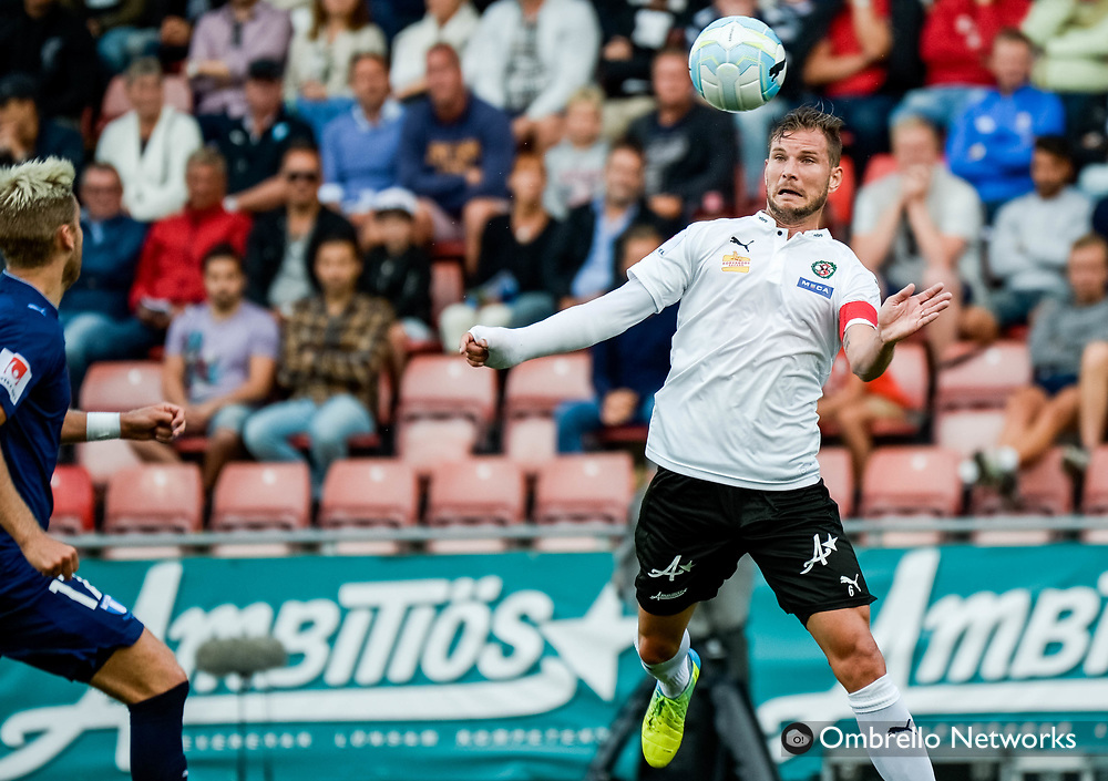 ÖREBRO, SWEDEN - AUGUST 01: Robert Ahman Persson of Örebro SK shoots a header during the allsvenskan match between Örebro SK and Malmö FF at Behrn Arena on August 1, 2016 in Örebro, Sweden. Foto: Pavel Koubek/Ombrello