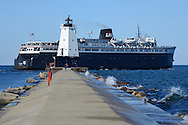 The S.S. Badger Carferry leaves the Ludington Harbor for Manitowoc, Wisconsin