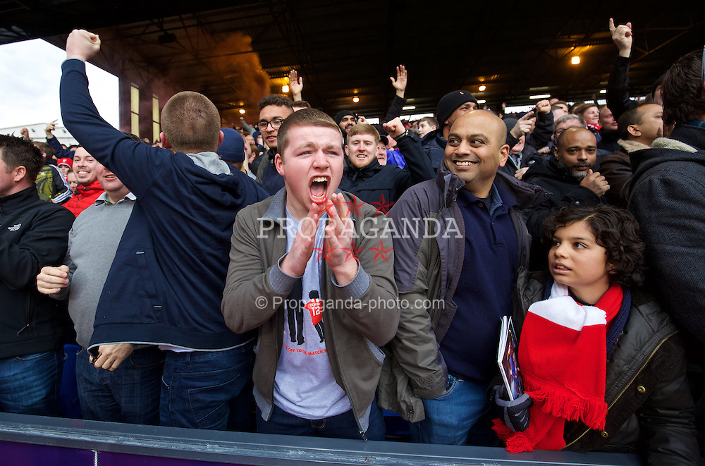 LONDON, ENGLAND - Sunday, March 6, 2016: Liverpool supporters celebrate the equalising goal against Crystal Palace during the Premier League match at Selhurst Park. (Pic by David Rawcliffe/Propaganda)