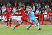 Filipe Morais and George Lloyd   during the EFL Sky Bet League 2 match between Crawley Town and Cheltenham Town at The People's Pension Stadium, Crawley, England on 31 August 2019.
