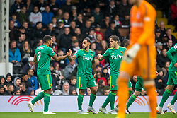 September 22, 2018 - Andre Gray of Watford celebrates scoring the opening goal during the Premier League match between Fulham and Watford at Craven Cottage, London, England on 22 September 2018. Photo by Salvio Calabrese. (Credit Image: © AFP7 via ZUMA Wire)